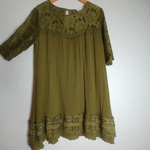 L&B Moss Green Gauze Lace Boho Mini Shift Dress